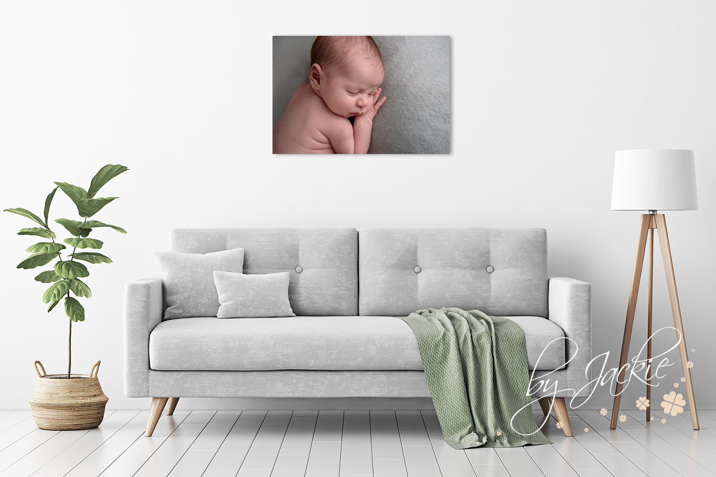 Bamboo Panel wall display of newborn baby girl by Babies By Jackie Photography in Market Weighton, near Pocklington, York and Hull, Yorkshire UK