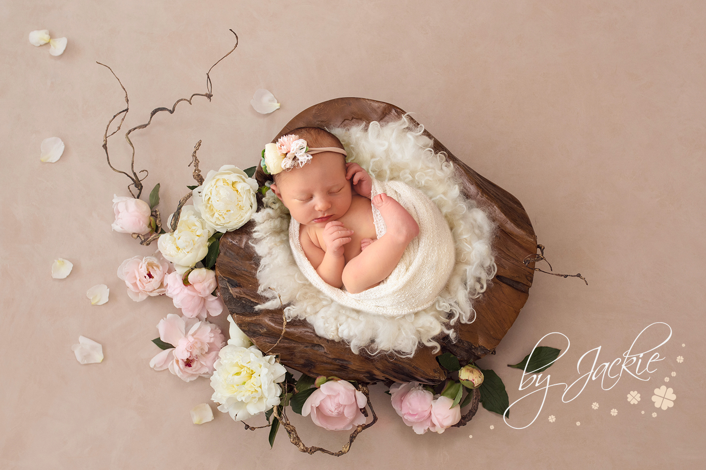Image of newborn baby girl snuggled in root bowl by Babies By Jackie Photography in Market Weighton near York, Malton, Pocklington and Beverley, Yorkshire, UK