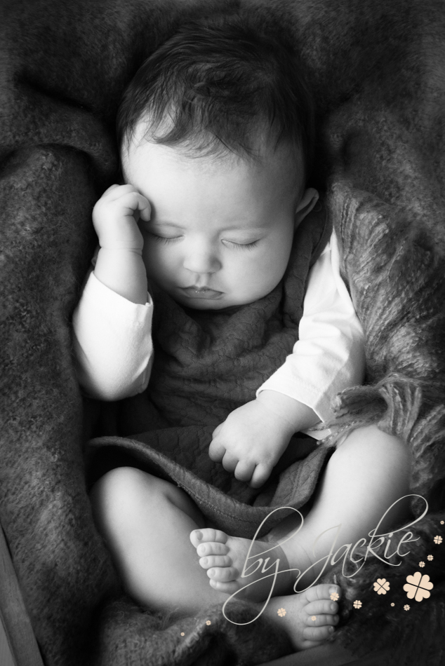 Sleeping baby girl at milestone photosession by Babies By Jackie