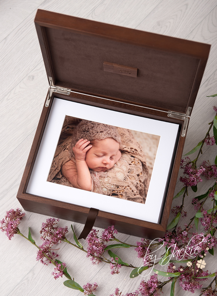 Our treasure boxes come in a fsc walnut finish