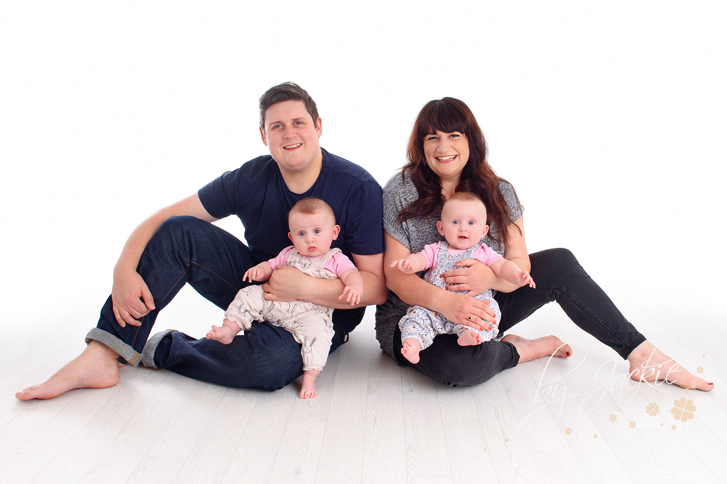 Family portrait photo shoot with baby girl twins by Babies By Jackie in her studio in Market Weighton, York, North Yorkshire, UK. Near Pocklington, Beverley, Asselby and Hessle.