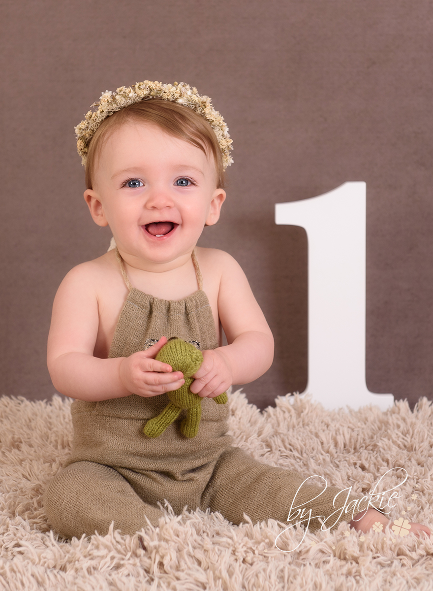 12 month milestone photo session with little girl. Number 1. Photo By Jackie Photography in Market Weighton, Beverley, York, UK
