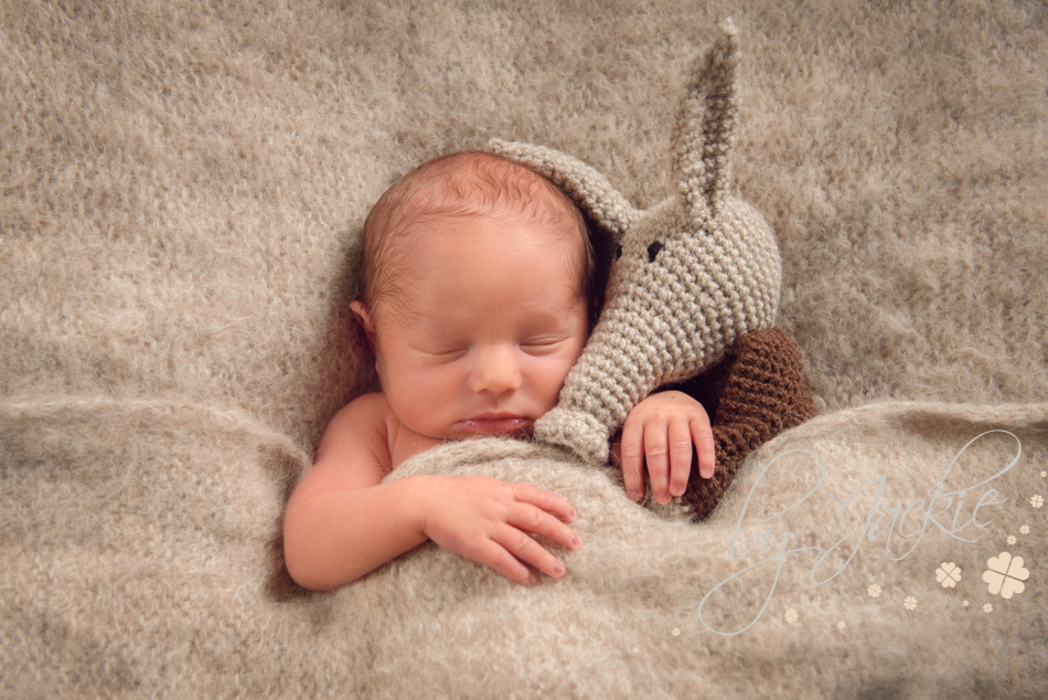 Newborn baby boy cuddling his ant-eater teddy by Babies By Jackie, Market Weighton, near York, Beverley and Pocklington, Yorkshire UK