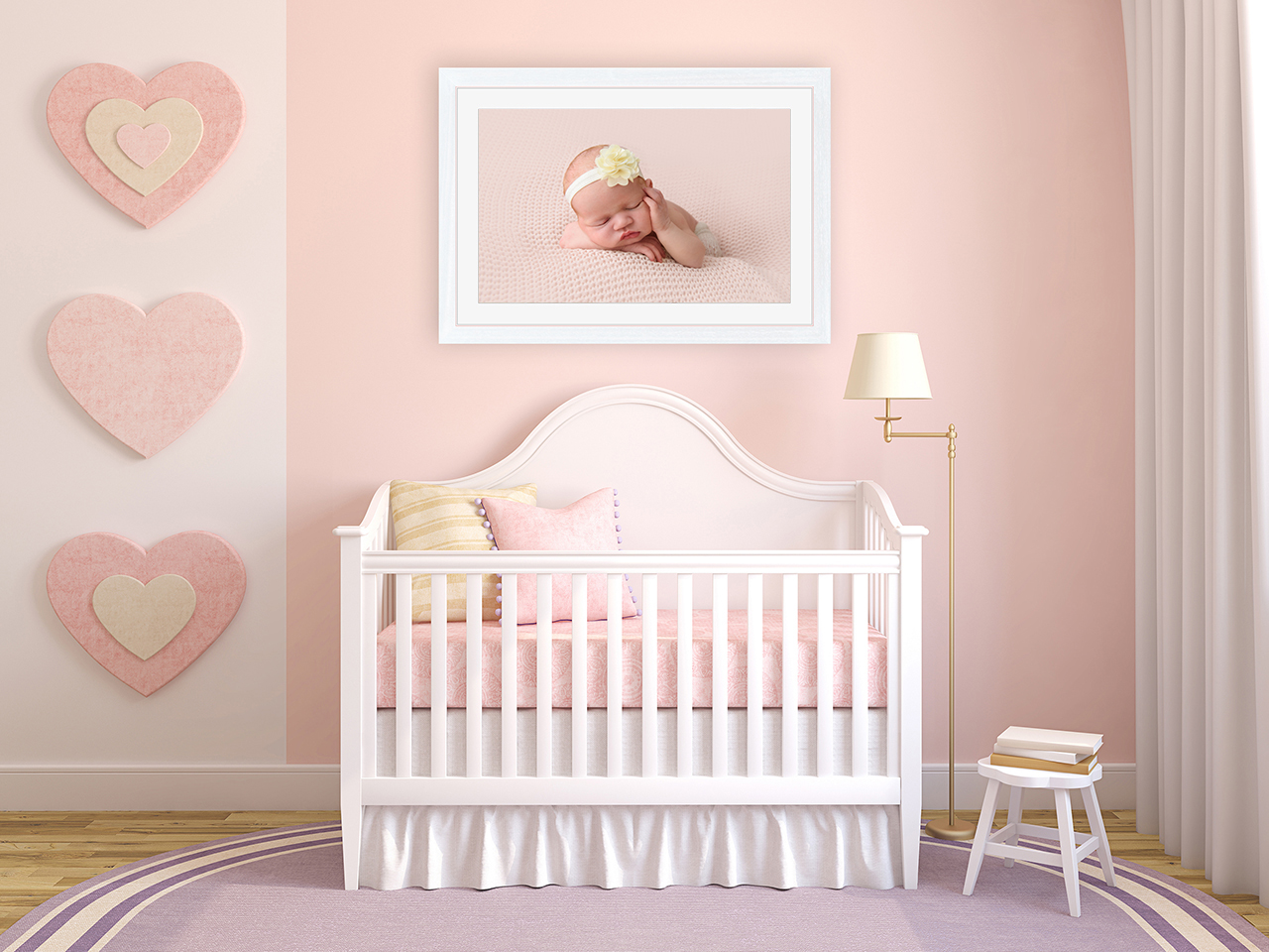 Baby girl nursery with framed photo of newborn baby girl by Babies By Jackie Photography, Market Weighton, near Pocklington, York, Beverley, Howden, Holme on Spalding Moor, Hull, Hessle and Asselby, Yorkshire UK