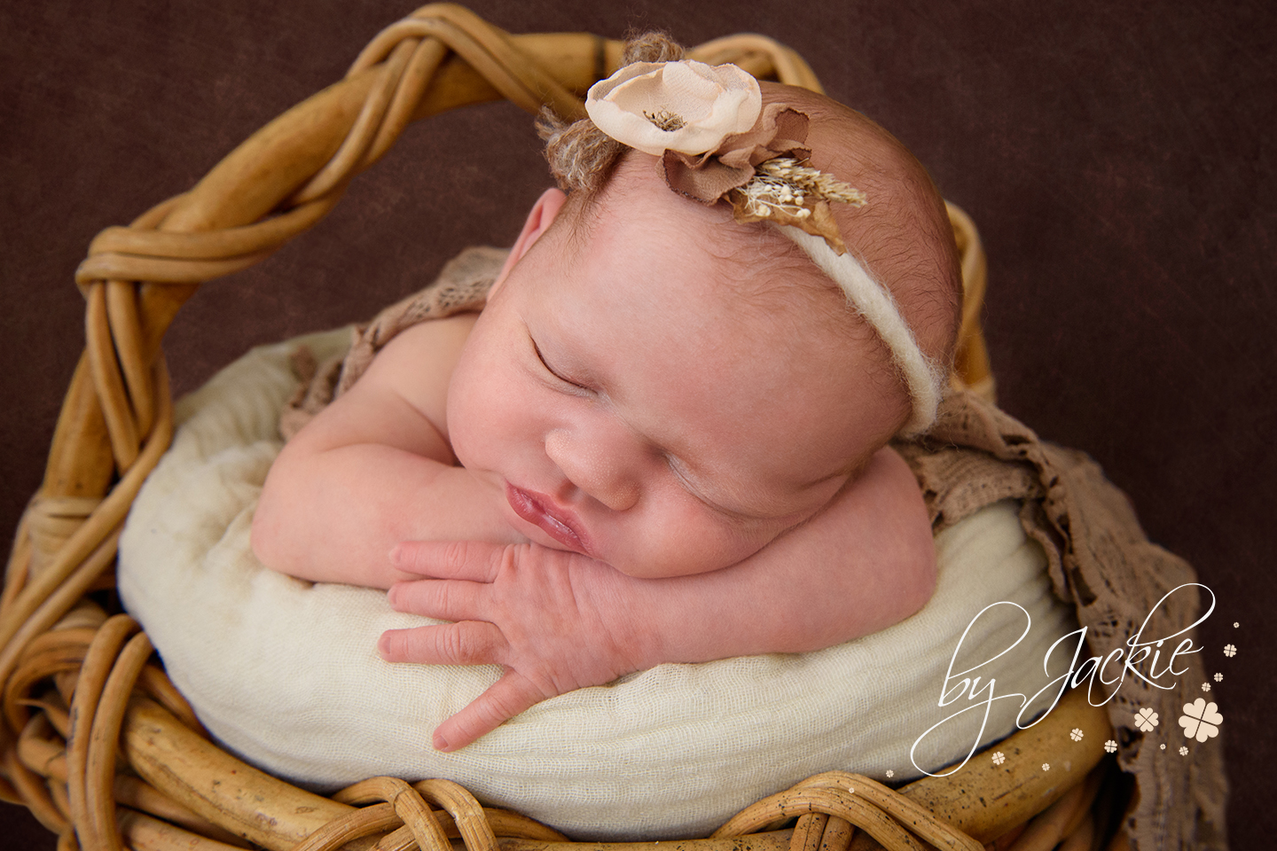 Newborn baby girl in a basket photographed by Babies By Jackie in Market Weighton near Pocklington, Beverley, Hull and Hessle in East Ridings UK
