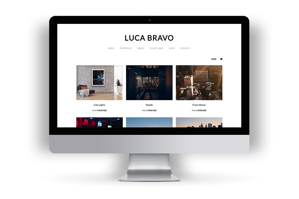Picture of Luca Bravo's example website built in Workspace